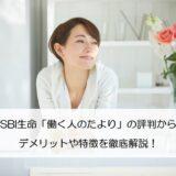 SBI生命「働く人のたより」の評判からデメリットや特徴を徹底解説!