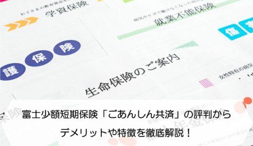 富士少額短期保険「ごあんしん共済」の評判からデメリットや特徴を徹底解説!
